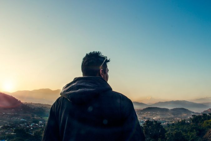 sunset, man, thinking